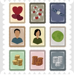Nine stamps vector image