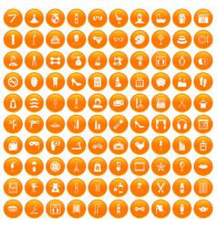 100 beauty and makeup icons set orange vector image
