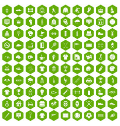 100 sport club icons hexagon green vector