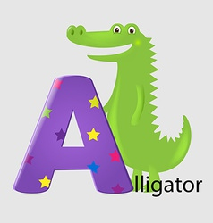 Alligator with letter vector