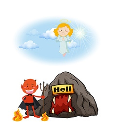 Angel in heaven and devil in hell vector