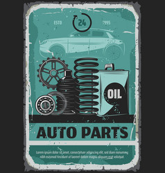 Auto parts oils and cogwheels car service poster vector
