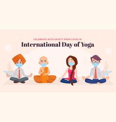 Banner design of international yoga day vector