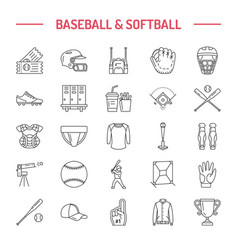 baseball softball sport game line icons vector image
