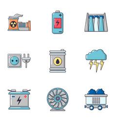 bioenergy icons set cartoon style vector image