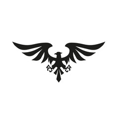 black eagle symbol on white background vector image