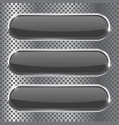 Black oval buttons on metal perforated background vector