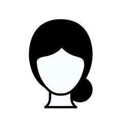 Black silhouette thick contour of faceless woman vector