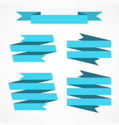 blue ribbon banners set beautiful blank vector image