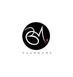 Bm handwritten brush letter logo design vector