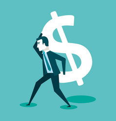 Business man carrying dollar sign money finance vector