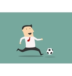 Businessman player running with the ball vector image