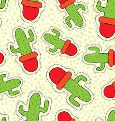 Cactus plant hand drawn patch on seamless pattern vector