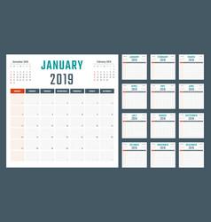 calendar for 2019 starts sunday calendar vector image