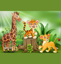 Cartoon of the nature scene with different animals vector
