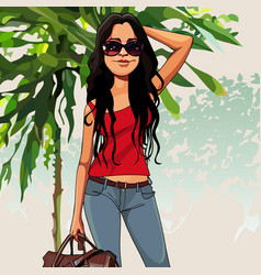cartoon puzzled woman with a bag in the nature vector image