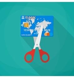 Cartoon scissors cutting a credit debit bank card vector image