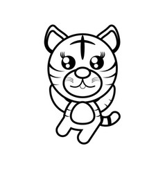 Cartoon tiger animal outline vector