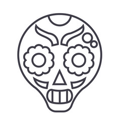 Catrina line icon sign on vector