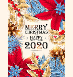 christmas design with blue pine branch vector image