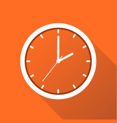 Clock icon flat design with long shadow on orange vector