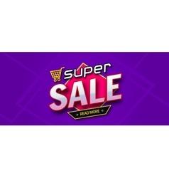 Colorful sale banner Super sale inscription vector image