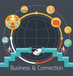 Connection Concept Shake Hands Business Icons vector image