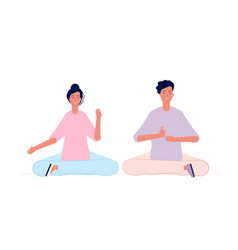 Couple meditation male and female characters yoga vector