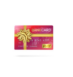 Credit or debit red card with golden ribbon gift vector