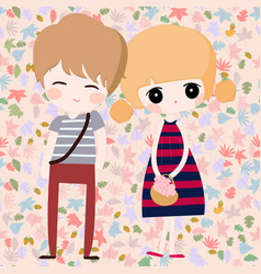 cute couple cartoon in pink spring summer vector image