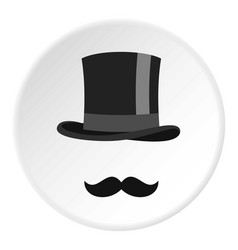 Cylinder and moustaches icon circle vector
