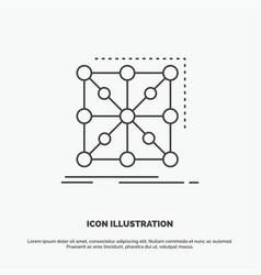 Data framework app cluster complex icon line gray vector