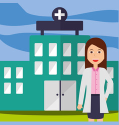 doctor female staff professional hospital building vector image