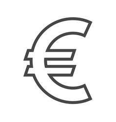 euro sign thin line icon vector image