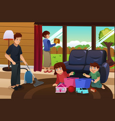 Family cleaning house vector