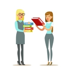 Female Colleagues Sharing The Paperwork Part Of vector image