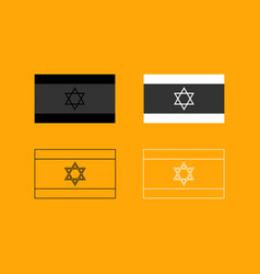 flag of israel set black and white icon vector image
