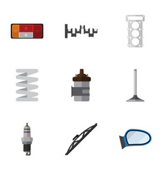 flat icon component set of absorber spare parts vector image