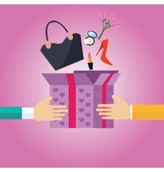 Gift present box open to girls female stuff hand vector