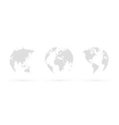 gray hatched globe simple icon vector image