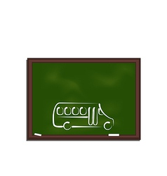 Green chalkboard with painting school bus vector image vector image