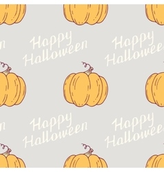 Hand drawn happy halloween seamless pattern with vector image