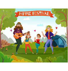 hippie festival cartoon vector image
