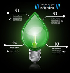 infographic template eco bulb light leaf icon vector image