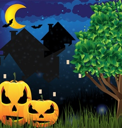 Jack oLanterns and night city vector