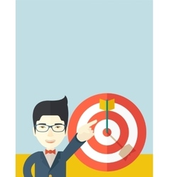 Japanese salesman hit the sales target vector