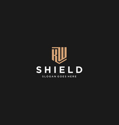 Kw letter shield icon vector