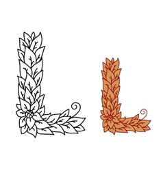 Leaf design uppercase letter L vector image