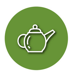 Line icon of brewing teapot with shadow eps 10 vector