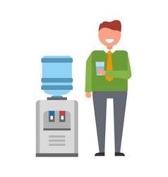 Man with water cooler icon vector